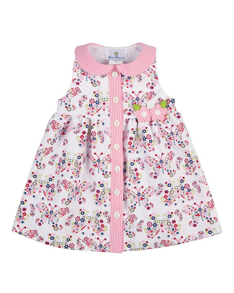Sleeveless Pique Butterfly Dress, Multicolor, Size 2-4