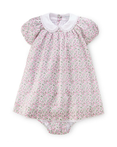 Batiste Floral Lace-Trim Dress w/ Bloomers, White/Multicolor, Size 9-24 Months