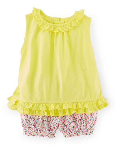 Cotton Twill Ruffle Top w/ Floral Bloomers, Yellow Flash, Size 9-24 Months