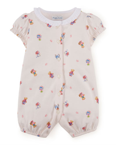 Printed Pima Shortall, Delicate Pink, Size 3-18 Months