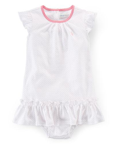 Sleeveless Pin Dot Shift Dress w/ Bloomers, Size 9-24 Months