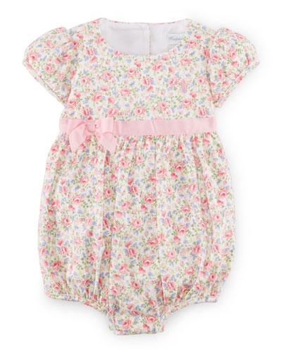 Floral Jersey Bubble Playsuit, White/Multicolor, Size 3-18 Months