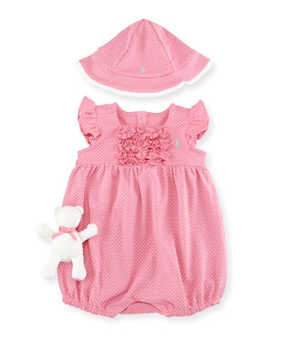 Pin Dot Bubble Playsuit, Bucket Hat & Teddy Bear, Garden Rose, Size 9-24 Months