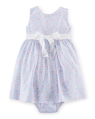 Sleeveless Printed Seersucker Dress w/ Bloomers, White/Blue, Size 9-24 Months