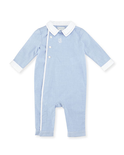Collared Hidden-Snap Poplin Coverall, Racer Blue