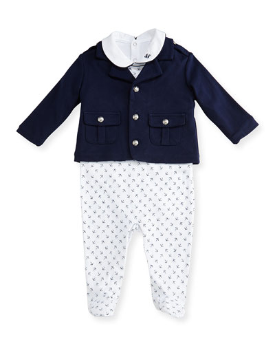 Pima Sailor Layette Set, White/Blue, Size 3-9 Months