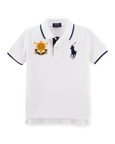 Tipped Cotton Mesh Polo Shirt, White, Size 2-7