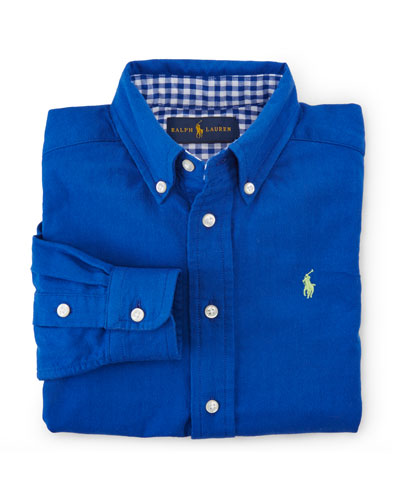 Custom-Fit Cotton Double-Weave Shirt, Blue, Size 2-7