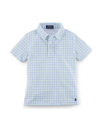Short-Sleeve Plaid Mesh Polo, Green/Multicolor, Size 2-7