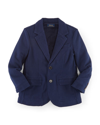 Cotton Jersey Novelty Blazer, Navy, Size 2-7