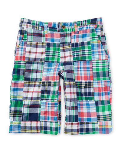Cotton Patchwork Prospect Shorts, White/Blue/Multicolor, Size 2-7