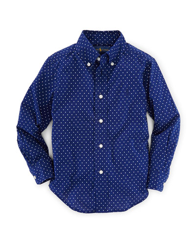 Long-Sleeve Polka-Dot Poplin Shirt, Blue, Size 2-7