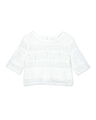 Cotton Batiste Eyelet Top, White, Size 2-6X