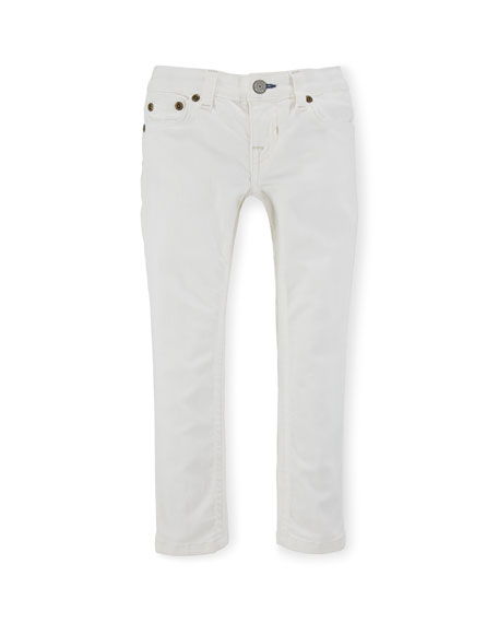 Ralph Lauren Jemma Cotton Skinny Jeans, White, Size