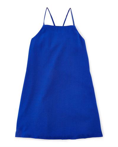 Woven Strappy Tank Dress, Deep Royal, Size 5-6X