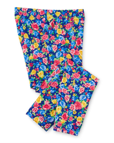 Floral Jersey Leggings, Blue/Pink, Size 2-6X