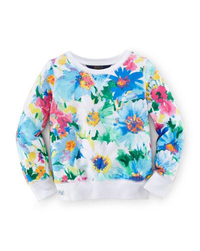 Floral Fleece Pullover Sweatshirt, Blue, Size 2-6X