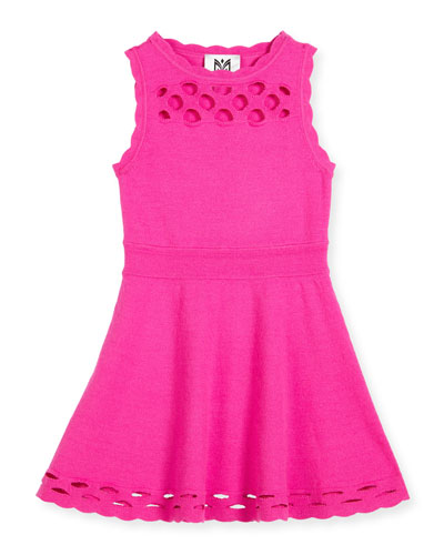 Scalloped Laser-Cut Fit-and-Flare Dress, Fuchsia, Size 8-14