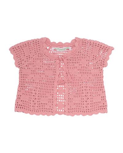 Cotton Crochet Bolero, Pink, Size 12-18 Months
