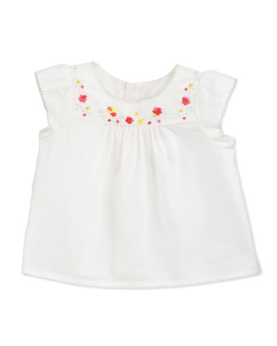 Cap-Sleeve Embroidered Poplin Blouse, Milky White, Size 6-12 Months