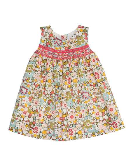 Sleeveless Floral Poplin Shift Dress, Red/Multicolor, Size 6-12 Months