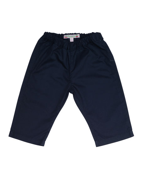 Woven Cotton Straight-Leg Pants, Navy, Size 18M-2Y