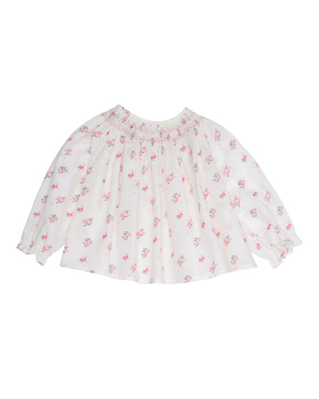 Embroidered Floral Cotton Blouse, White, Size 6-12 Months