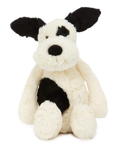 Medium Bashful Puppy Stuffed Animal, Black/White