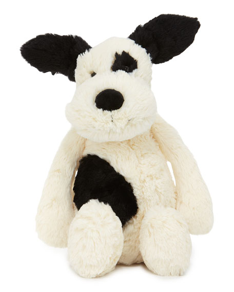 Jellycat Medium Bashful Puppy Stuffed Animal, Black/White