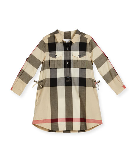 Burberry Darielle Long-Sleeve Check Shirtdress, New Classic, Size