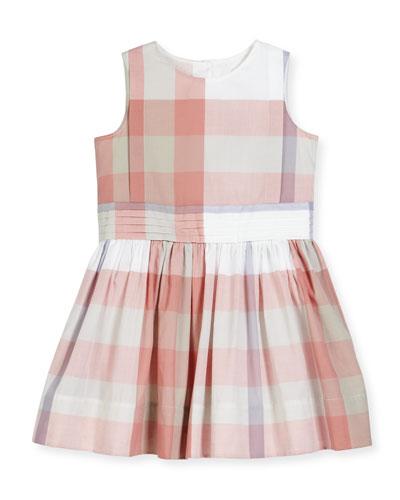 Alenna Sleeveless Smocked Check Dress, Light Copper Pink, Size 4-14