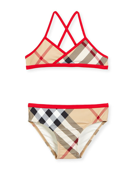 Crosby Check Cross-Back Two-Piece Swimsuit, New Classic/Red, Size 4-14