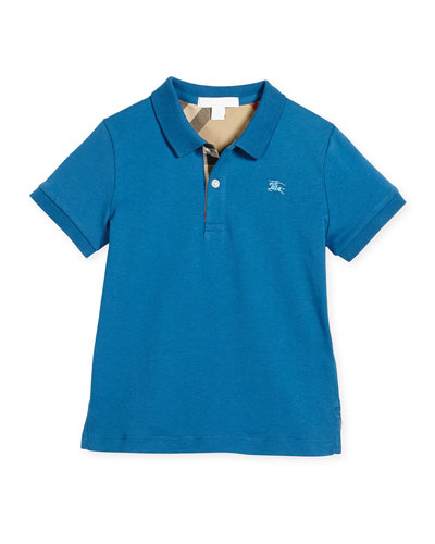 Mini PPM Jersey Polo Shirt, Lupin Blue, Size 4-14