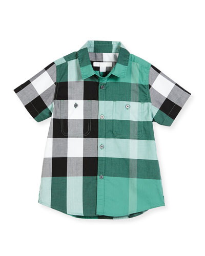 Mini Camber Short-Sleeve Check Shirt, Aqua Green, Size 4-14