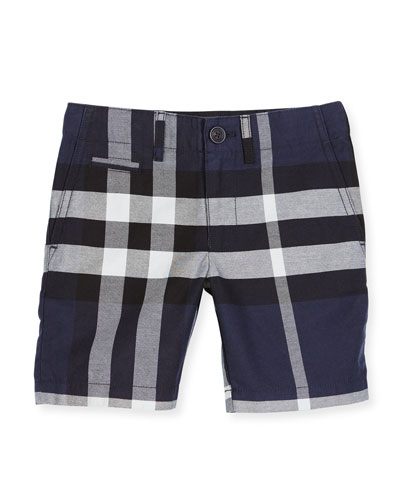 Tristen Check Lightweight Chino Shorts, Navy, Size 4-14
