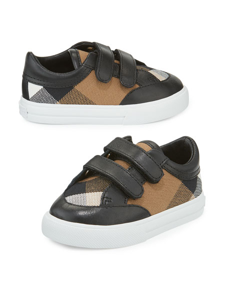 Heacham Check Canvas Sneaker, Black/Tan,  Newborn