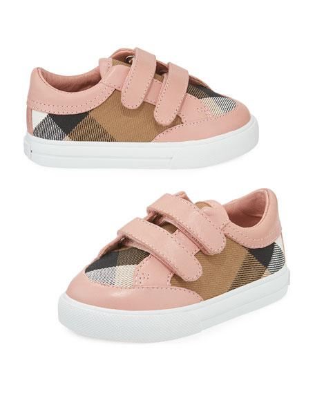 Heacham Check Canvas Sneaker, Peony Rose/Tan,  Newborn