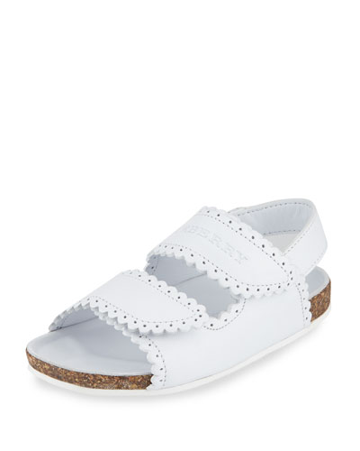 Eelford Scalloped Leather Sandal, White, Toddler