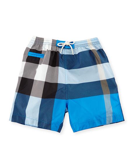 c77d220fc6 Burberry Saxon Check Swim Trunks, Cerulean Blue, Size 6M-3