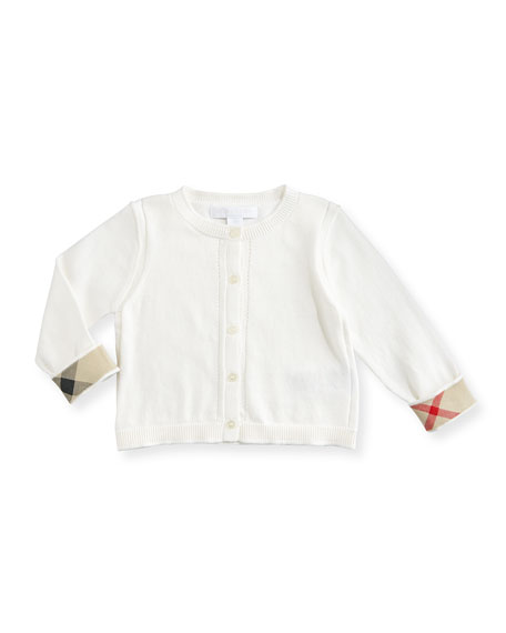 Rheta Cotton Button-Front Cardigan, White, Size 6M-3