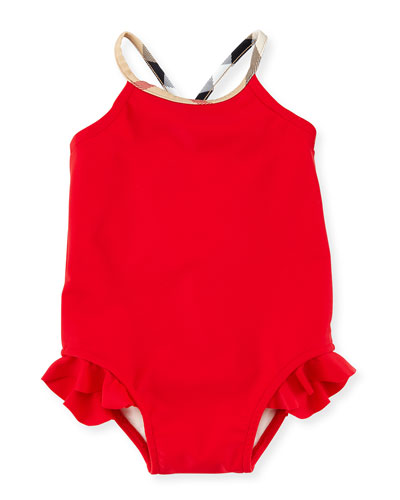 Lundy Ruffle-Trim Cross-Back Swimsuit, Poppy Red, Size 6M-3