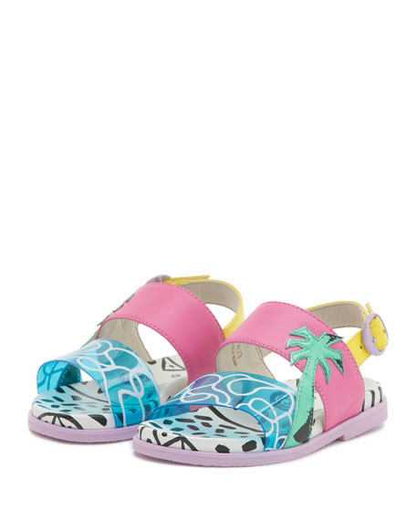 Becky Malibu Mini Sandal, Aqua, Sizes 5T-2Y