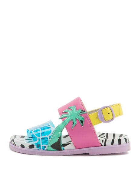 Becky Malibu Mini Sandal, Aqua, Sizes 5T-2Y