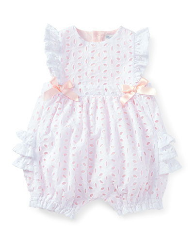 Sleeveless Eyelet Ruffle Playsuit, White, Size 3-18 Months