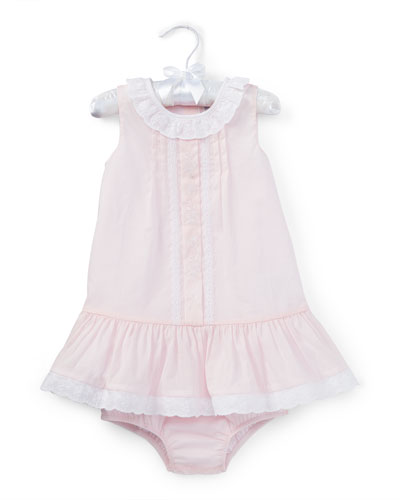 Pleated Cotton Voile Dress w/ Bloomers, Delicate Pink, Size 9-24 Months