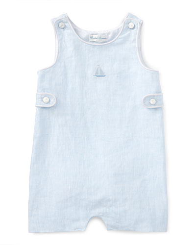 Heathered Linen Overalls, Blue, Size 3-18 Months