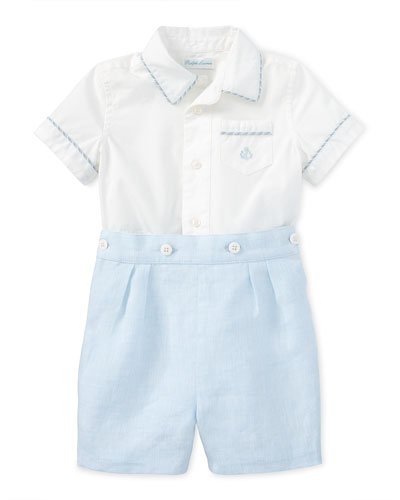 Short-Sleeve Cotton Shirt w/ Linen Shorts, White, Size 9-24 Months