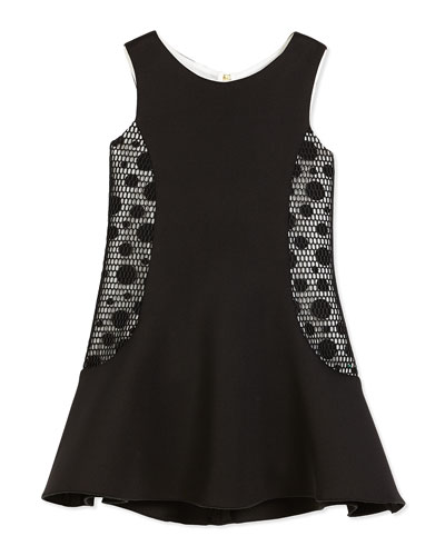 Sleeveless Neoprene Fit-and-Flare Dress, Black/Cream, Size 7-16