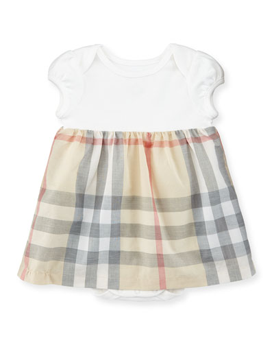 Cherrylina Cap-Sleeve Play Dress, White, Size 3-12 Months