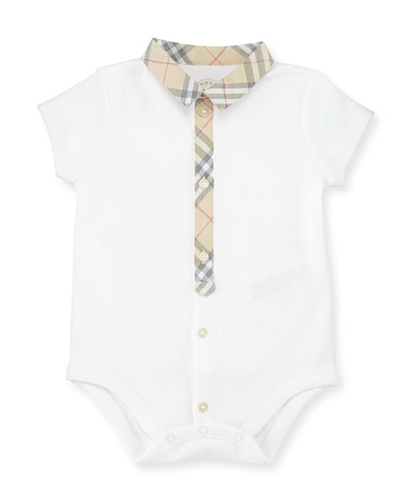 Burberry Tannar Check-Placket Jersey Playsuit, White, Size 3-24